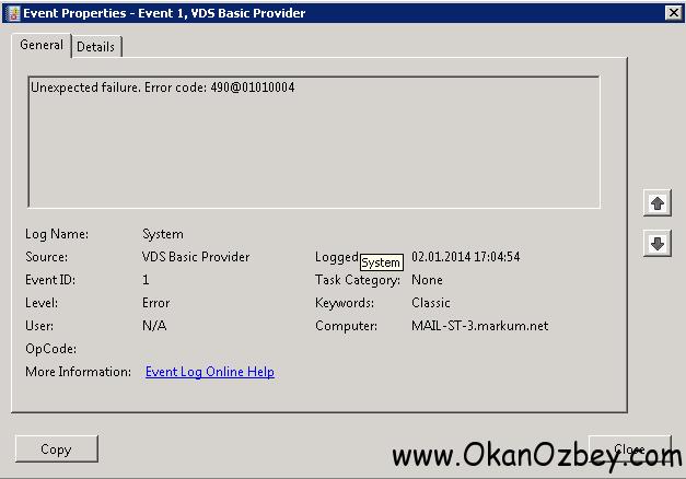 VDS Basic Provider Error Code 490@01010004 Hatası çözümü - Ziya Okan